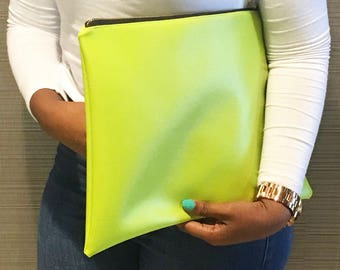 High Maintenance Oversized Clutch in High Voltage Yellow