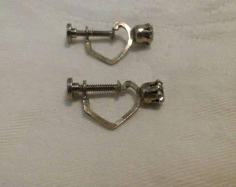 Sterling silver Vintage CZ screw back earrings