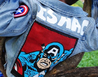Hand Made SuperHero Denim Jacket Kids Marvel DC Super Hero ORIGINAL