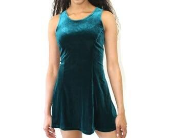 90's Vintage Velvet Green Emerald Dress /XS Small Medium /Jewel Tone