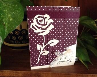 Handmade Sympathy Card, purple drapery fold, includes envelope