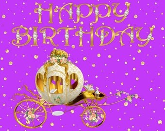 Princess Birthday Card - GOLD AND PURPLE - Magical Princess Carriage
