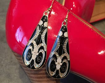 Black and Gold Enamel Drop Earrings