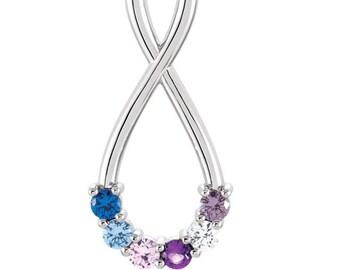 Mother's pendant. Teardrop infinity pendant. Mother's day gift. Birthstone pendant. Mother's necklace. 5 stone necklace. 4 stone necklace.