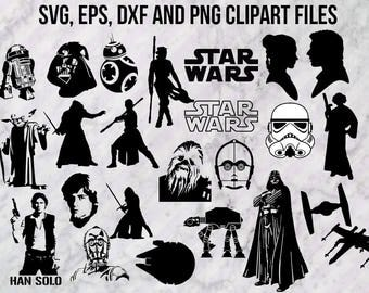 Star wars Svg, Star wars Clip art, Star wars dxf, eps, png and vector, Kylo ren, BB8, Rey, han solo, chewbacca, leia decal design silhouette