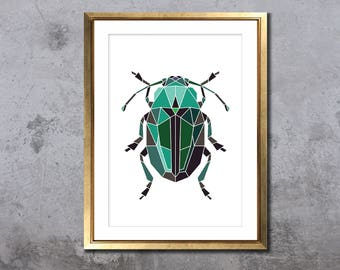 Beetle in blocks, geometric insect print, animal illustration, biology art, blue bug, A5, A4 poster