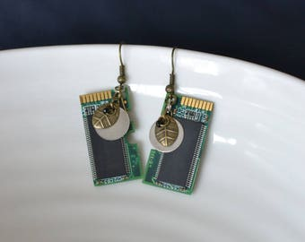 Earrings dangling metal - recycled computer parts
