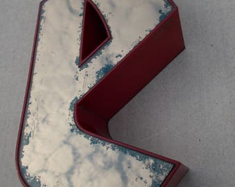 "Advertisement letter, ""e"", old London, vintage, red, mirror"