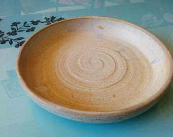 Hand Thrown spiral cream, tan, oatmeal Glaze Ceramic Stoneware Bowl, plate, dish