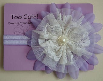 Pretty Purple and White Lace Headband with Pearl Embellishment