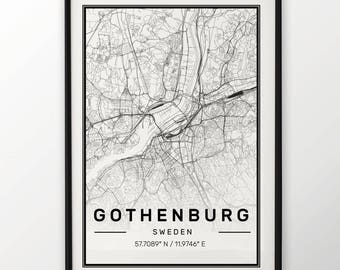 Gothenburg City Map Print, Modern Contemporary poster in sizes 50x70 fit for Ikea frame All city available London, New york Paris Madrid