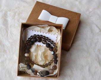 Brown botswana agate and smoky quartz Bracelet in a Gift Box