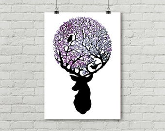 Mauve, stag, birds, branches, animal, painting watercolor & ink. Poster 50x70 cm, art print, illustration. Digital print 130 gr.