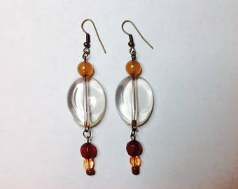 Dangle earring Clear and Brown