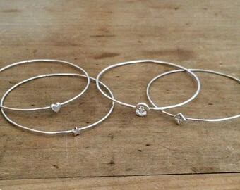 Heart bangle | sterling silver