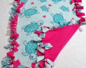 Turtle and Pink Fleece Baby Blanket
