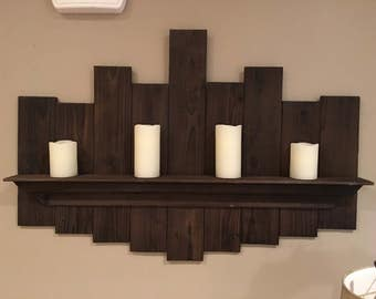 Rustic hand made wall hanging shelf.
