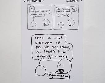 Postcard: only-two comic #7 - they them their gender neutral pronouns singular nonbinary non-binary trans queer genderqueer transgender