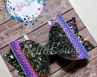 Color changing Mermaid Lagoon double loop hair bow