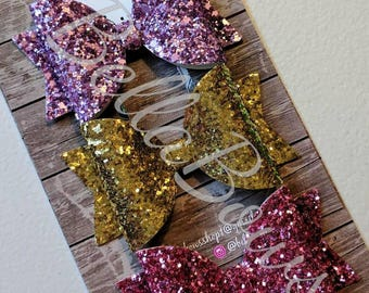3.5 in Solid Glitter hair bow- For one bow- Choose color