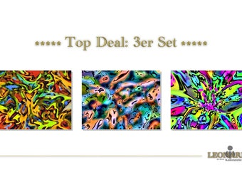 ABSTRACT ART of 103 set of 3 - canvas - canvas abstract art abstract art - abstract painting - modern art - modern art