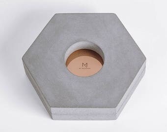Minshape Tealight Candle Holder MTH3 / Minimalist, scandinavian, modern concrete tealight candle holder with copper element