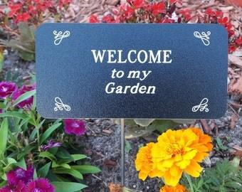Custom Garden Sign, Engraved Outdoor Sign, WELCOME to my Garden, Garden Signs, Garden Sign with Stake, Custom Garden Signs, Gardener Gift