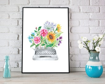 Floral Type Writer Watercolor Illustration 8 x 10