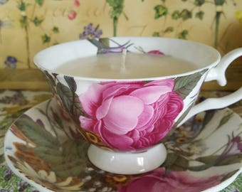 Peony. Peony Fragrance.Soy Candle. Teacup and Saucer. Bridal Shower. Gift.