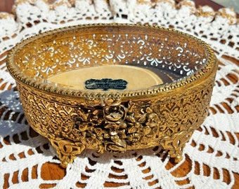 Vintage Stylebuilt Accessories 24K Gold Plated Oval Jewelry Box FREE SHIPPING!
