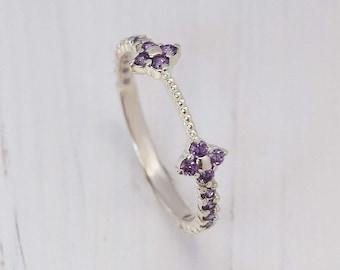 Amethyst ring, Minimalist ring, Dainty ring, Delicate ring, Silver wedding band, Elegant wedding ring, Small ring, Tiny ring