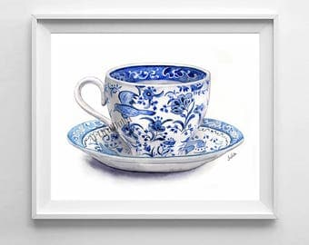 Blue and white teacup print, Chinese teacup, cup print , print of my original painting