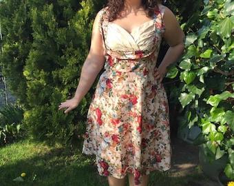 Wheel pin up rockabilly dress beige floral
