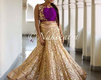 Beige and purple crop top lehenga