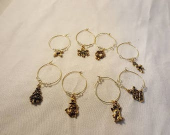CHOICE of CHRISTMAS/YULE Wine Glass Charms -- set of eight