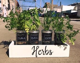 Mason Jar Herb Planter Box