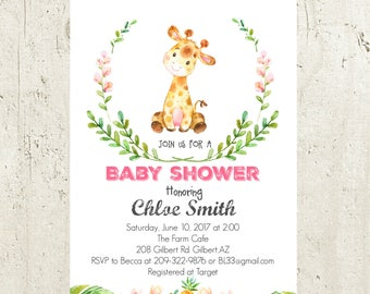 Giraffe Baby Shower Invitation, Safari Baby Shower Invitation, Jungle Baby Shower Invitation Printable