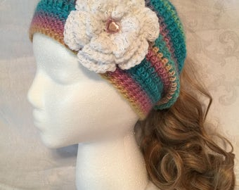 Multicolored messy bun hat with detachable flower
