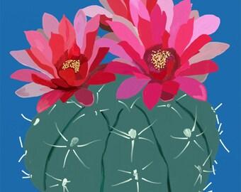 Flowering Cactus Digital Oil Print