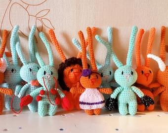 Zodiac signs bunny keychain,rabbit keychai,animal keychain,unique accessory, cute animal, blue bunny,green bunny,red bunny,orange bunny