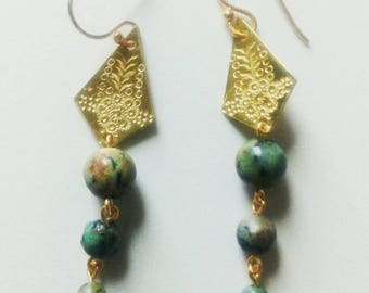 Gold Brass Geometric Earrings with African Turquoise