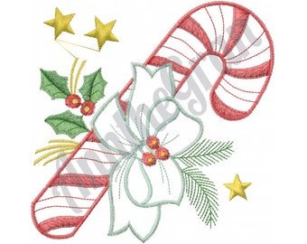 Christmas Candy Cane - Machine Embroidery Design