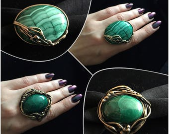Designer brass ring with malachite