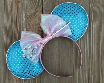 Minnie Mouse Ears, Disney Ears, Mickey Ears, Cinderella Inspired Minnie Mouse Ears, Mickey Mouse Ears, Cinderella Ears,Fairy God Mother Ears