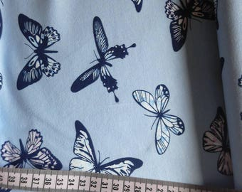 Blue butterflies jersey knit fabric, butterfly jersey, butterfly knit, blue jersey