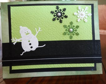 Snowflake, Snowman Christmas card