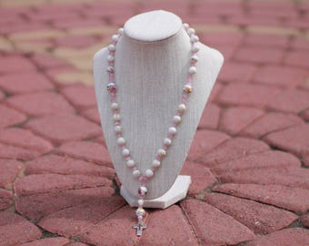 Anglican Prayer Beads + Large Pink/White