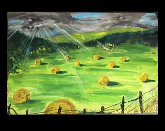 Hay Field, Nature, Landscape, Watercolor, Gouache, Gift, Green, Storm, Sun, Texas, Austin