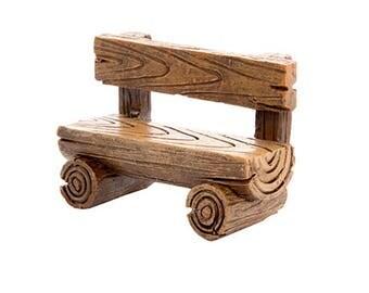Log Bench, Resin, 2.25 x 1.5 x 1 inches - Resin - Miniature Fairy Garden Dollhouse