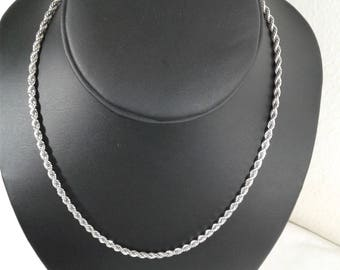 sterling silver diamond cut rope